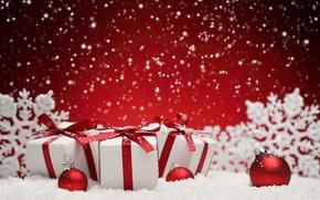 Обои шарики, снег, снежинки, шары, Новый Год, Рождество, подарки, balls, winter, snow, merry christmas, snowflakes, decoration, ...