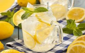 Картинка лед, напиток, мята, лимоны, лимонад