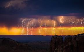 Картинка storm, twilight, sky, desert, landscape, nature, lightning, sunset, clouds, evening, Thunderbolt