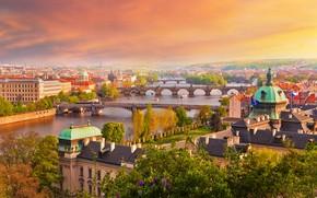 Картинка осень, небо, солнце, деревья, город, река, дома, Прага, Чехия, мосты
