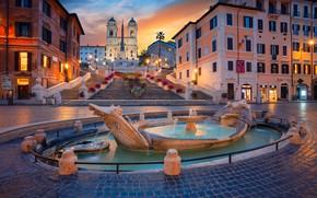 Картинка здания, дома, площадь, Рим, Италия, лестница, церковь, фонтан, Italy, Rome, Испанская лестница, Площадь Испании, Fontana ...