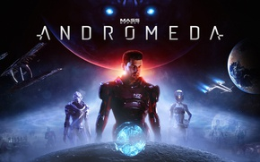 Обои Turian, Mass Effect: Andromeda, Cora Harper, Scott Ryder, Vetra