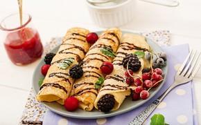 Картинка ягоды, шоколад, завтрак, варенье, сахарная пудра, блинчики