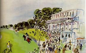 Картинка New York, 1930, Raoul Dufy, Collection Abraham L. Bienstock, Races With Goodwwood, Aquarelle et gouache, …
