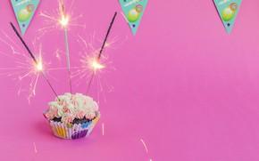Картинка день рождения, праздник, флажки, крем, выпечка, flags, cupcake, кекс, holiday, birthday, cream, pastry