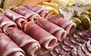 Картинка мясо, оливки, колбаса