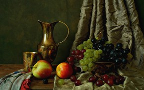 Картинка яблоки, виноград, кувшин, натюрморт