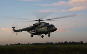 Картинка поле, вертолёт, ВВС России, Ми-8АМТШ