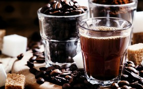 Картинка стакан, кофе, сахар, напиток, кофейные зерна