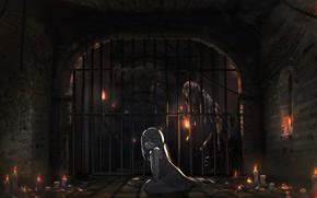 Обои девочка, свечи, арт, oota youjo, темница, аниме, решотка, фонарь