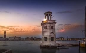 Картинка небо, маяк, вечер, Италия, San Giorgio Maggiore