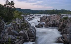 Картинка небо, вода, деревья, природа, река, камни, поток