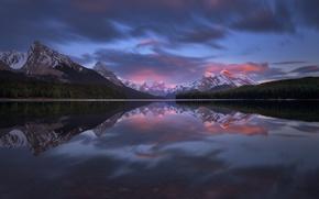 Картинка Канада, закат.лес, отражения, Джаспер, горы, озеро