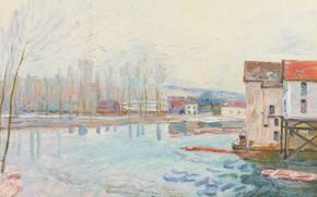 Картинка пейзаж, дом, река, Alfred Sisley, Альфред Сислей, Зима в Морэ-сюр-Луэне