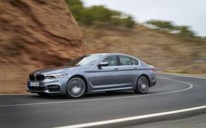 Обои асфальт, серый, движение, скорость, BMW, седан, 540i, 5er, M Sport, четырёхдверный, 2017, 5-series, G30