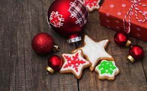 Картинка украшения, шары, игрушки, Новый Год, печенье, Рождество, happy, Christmas, wood, New Year, Merry Christmas, Xmas, …