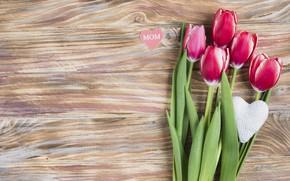 Картинка цветы, тюльпаны, love, розовые, fresh, heart, wood, pink, flowers, tulips, spring, mom, mother's Day