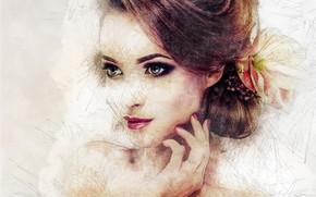 Картинка девушка, лицо, улыбка, арт, прическа