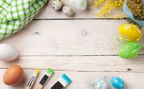 Картинка цветы, Пасха, wood, spring, Easter, eggs, decoration, Happy, мимоза