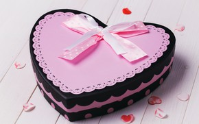 Картинка розовый, коробка, сердце, сердечки, торт, бантик, День святого Валентина, ленточка