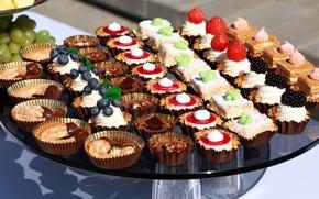 Картинка ягоды, шоколад, десерт, пирожные, ассорти