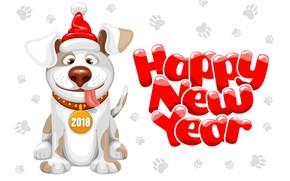 Обои собака, year, праздник, 2018, new year, новый год, dog year, dog