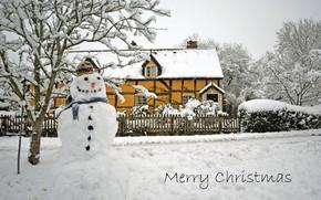 Картинка дом, праздник, снеговик