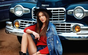 Картинка машина, авто, взгляд, девушка, поза, шляпа, джинсовка, Dmitry Arhar