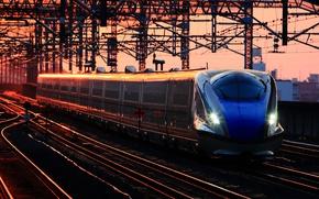 Картинка рассвет, поезд, станция, вагоны