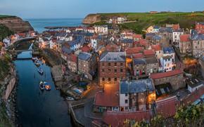 Обои North Sea, North Yorkshire, деревня, Staithes, Северное море, панорама, дома, Стайтес, England, река, здания, море, ...