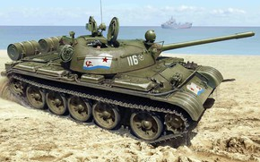 Обои Военно-Морской Флот СССР, берег, Т-55, советский средний танк, ВМФ СССР