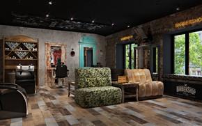 Картинка дерево, мебель, интерьер, помещение, BarberShop