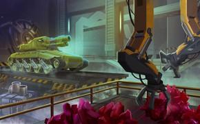 Картинка game, игра, танки икс, манипуляторы, TankiX, ангар, box, black, танк, green, гусеница, ограждение, желтый, tank, …