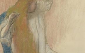 Картинка рисунок, Эдгар Дега, Edgar Degas, Женщина Расчесывающая Волосы, эскиэ