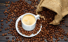 Обои мешочек, кофе, напиток, зерна, чашка, блюдце