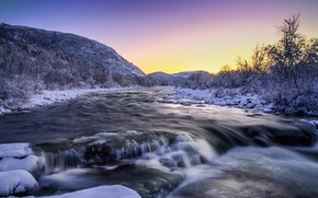 Обои природа, река, зима, снег, деревья