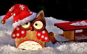 Картинка дерево, праздник, сова, рождество, фигурка