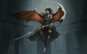 Картинка girl, sword, fantasy, armor, wings, Angel, digital art, artwork, dark angel, warrior, fantasy art