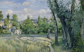 Картинка пейзаж, картина, Камиль Писсарро, Солнечный Свет на Дороге. Понтуаз