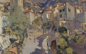 Картинка улица, дома, картина, импрессионизм, городской пейзаж, Константин Коровин, Окрестности Ниццы