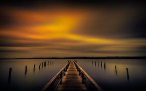 Картинка море, небо, пристань, вечер