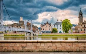 Картинка облака, тучи, мост, река, пасмурно, дома, Шотландия, Highland
