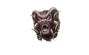 Картинка морда, страх, шерсть, демон, пасть, клыки, рога