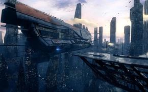 Обои город, city, future, будущее, starship, futuristic, корабль