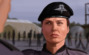 Картинка девушка, арт, солдат, Starship Troopers, Звёздный десант