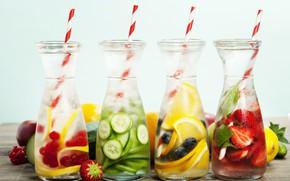 Картинка ягоды, лимон, лёд, черника, клубника, бутылки, фрукты, трубочки, красная смородина, освежающие напитки, Natalia Klenova