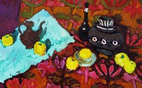 Картинка яблоки, 2008, натюрморт, Петяев, тюльпанный орнамент