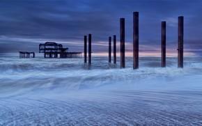 Картинка море, Англия, вечер, отлив, Брайтон