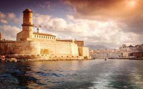 Картинка море, Франция, дома, форт, крепость, гавань