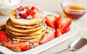 Картинка pancakes, орехи, клубника, ягоды, блины